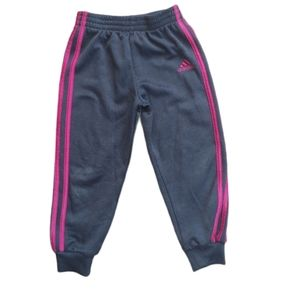 💗Adidas Track Pants, Black with Pink Stripes
